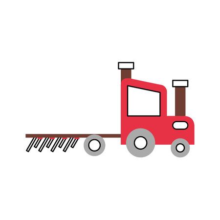 tractor boerderij met hark vector illustratie ontwerp