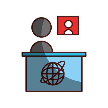 Ombra di progettazione dell'illustrazione di vettore dell'icona di notizie della televisione del salone Archivio Fotografico - 81127965