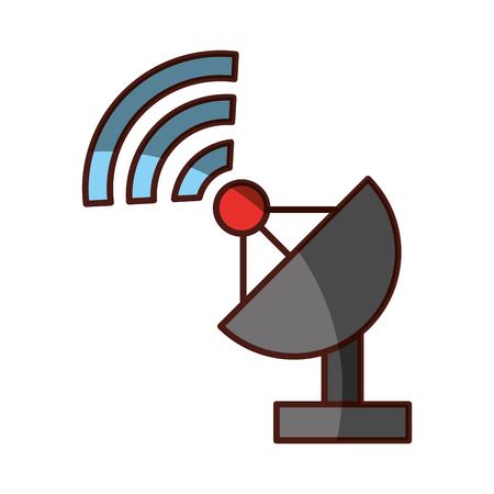 wireless signal: World signal antenna icon vector illustration design shadow
