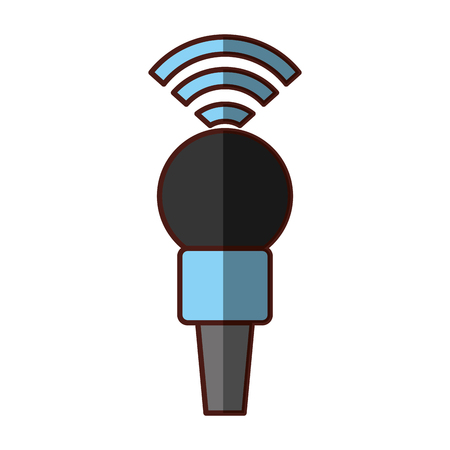 Professional microphone transmit icon vector illustration design shadow Banco de Imagens - 81124745