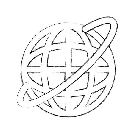 Global internet updating icon vector illustration design fuzzy Ilustrace