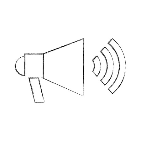Megaphone talk person icon vector illustration design fuzzy 向量圖像