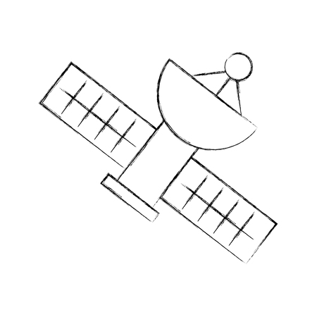 Satellite universe antenna icon vector illustration design fuzzy Illustration