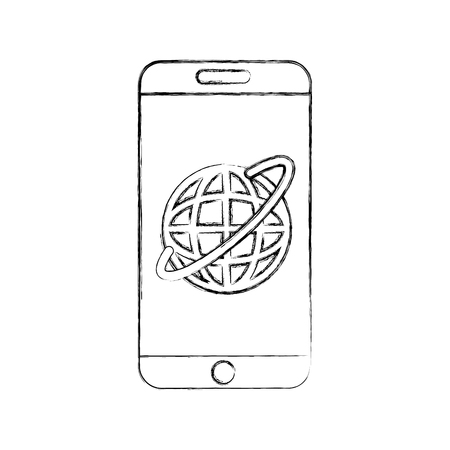Cellular connection technological information icon vector illustration design fuzzy
