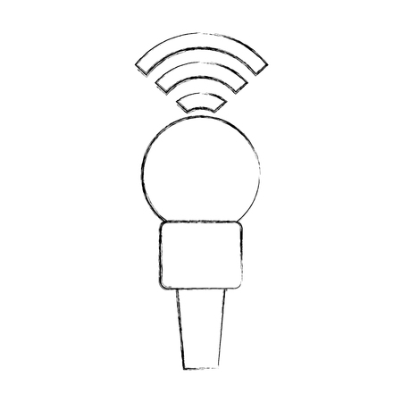 Professional microphone transmit icon vector illustration design fuzzy Çizim