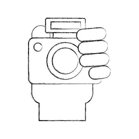 Professional digital camera icon vector illustration design fuzzy