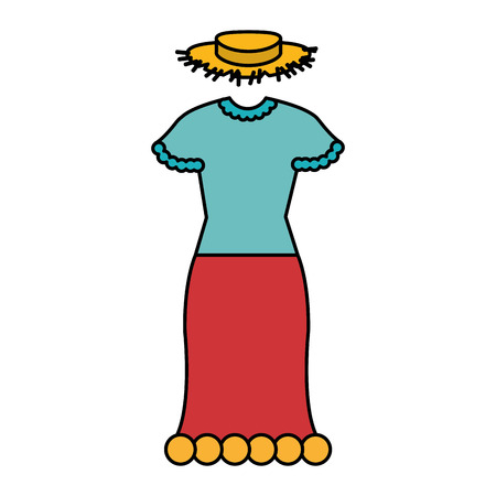 Typical farmer costume icon vector illustration design
