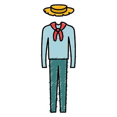 남성 전형적인 농부 의상 아이콘 벡터 일러스트 디자인