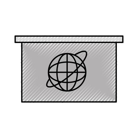 Living room television news icon vector illustration design doodle Illustration