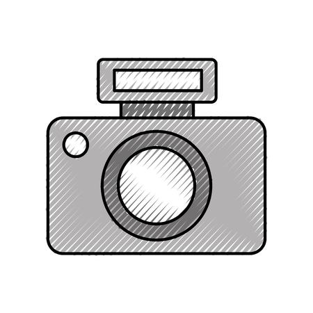 Professionele vector het ontwerpkrabbel van de camerapictogram vectorillustratie