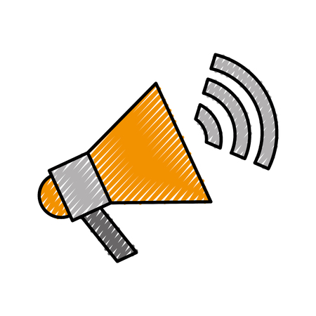 Megaphone talk person icon vector illustration design doodle