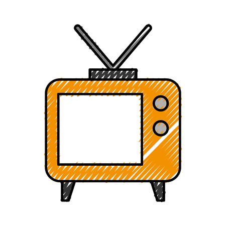 Big old television icon vector illustration design doodle Ilustração