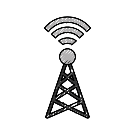 wireless signal: World signal antenna icon vector illustration design doodle