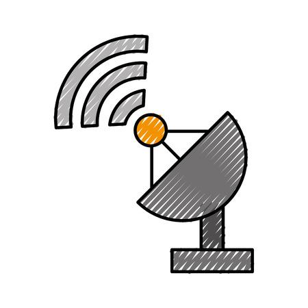 Antenne de signal mondiale icône vector illustration design doodle Banque d'images - 81133815