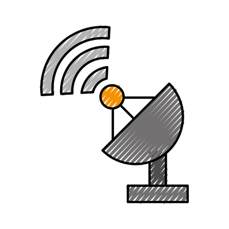 World signal antenna icon vector illustration design doodle