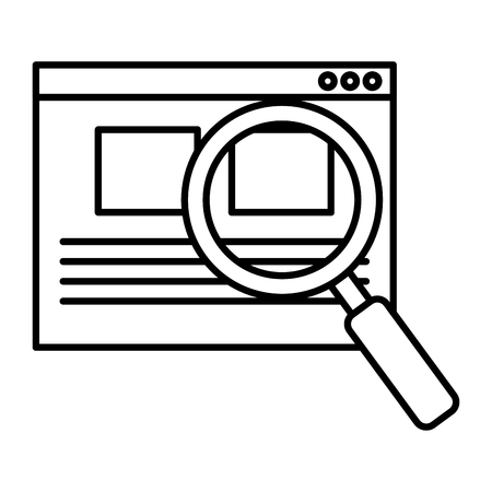 inspect: search magnifying glass with template vector illustration design