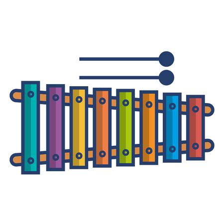 xylofoon instrument muzikaal pictogram vector illustratie ontwerp