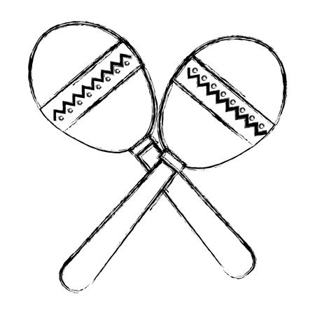 Icono de instrumento ilustración vectorial diseño tropical maracas Foto de archivo - 81138266