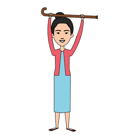 cute grandmother with cane avatar character vector illustration design Çizim