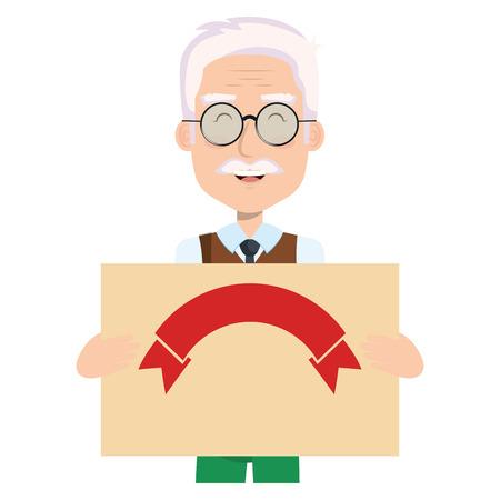 Abuelo lindo con diseño de ilustración de vector de personaje de avatar de tarjeta