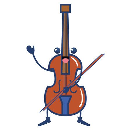 チェロ楽器かわいい文字ベクトル イラスト デザイン  イラスト・ベクター素材