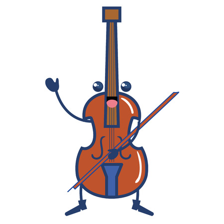 cello musical instrument kawaii character vector illustration design