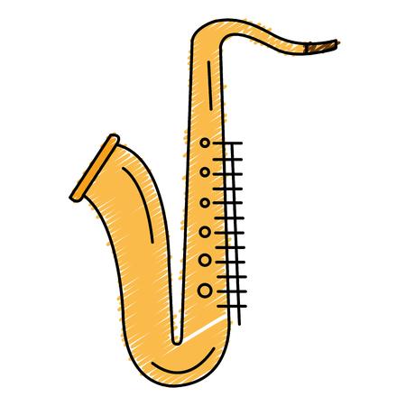 Saxofoon muzikaal instrument icoon vector illustratie ontwerp Stock Illustratie