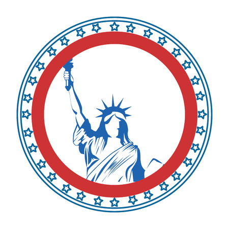 button with statue of liberty icon over white background vector illustration Ilustração