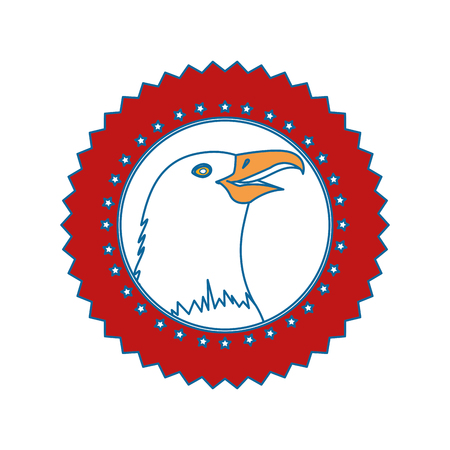 흰색 배경 위에 독수리 아이콘으로 인감 스탬프 화려한 디자인 벡터 일러스트 레이 션