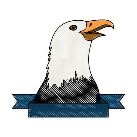 흰색 배경 위에 독수리 아이콘으로 장식 리본 화려한 디자인 벡터 일러스트 레이 션