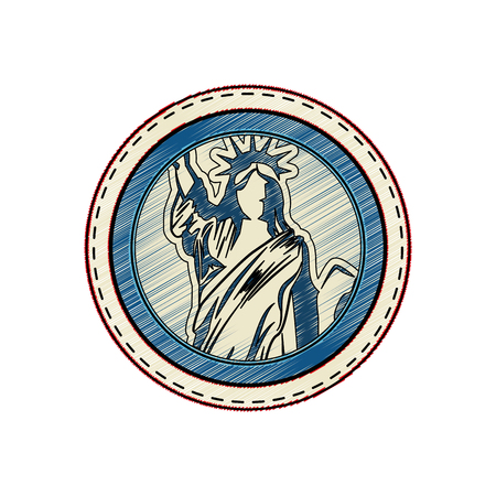 button with statue of liberty icon over white background vector illustration Çizim