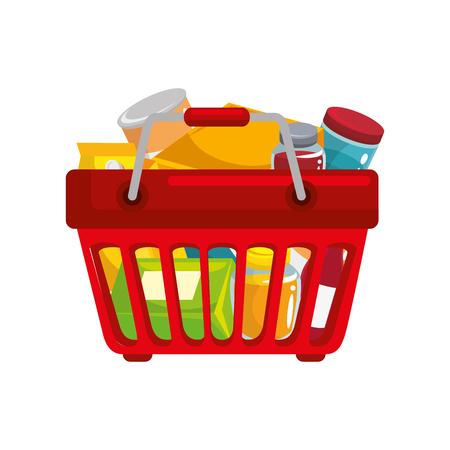 白地カラフルなデザインのベクトル図に食べ物アイコン付きショッピング バスケット  イラスト・ベクター素材