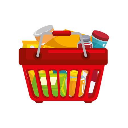 shopping basket with food icon over white background colorful design vector illustration 版權商用圖片 - 81140138