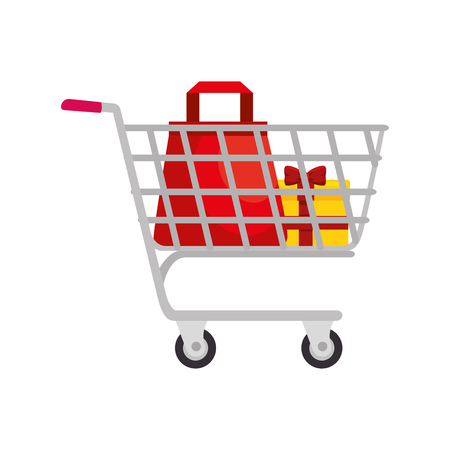 shopping cart with gift box icon over white background vector illustration