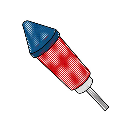 firework rocket icon over white background colorful design vector illustration