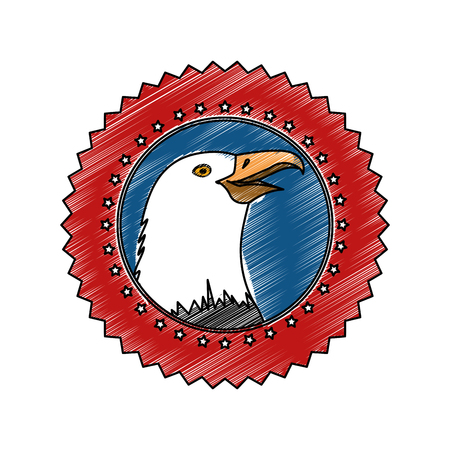 seal stamp with eagle icon over white background colorful design vector illustration Ilustração