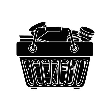 shopping basket with food icon over white background vector illustration Illusztráció