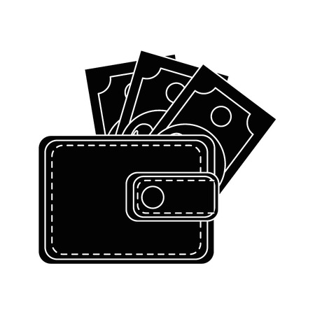 wallet with money bills icon over white background vector illustration 向量圖像