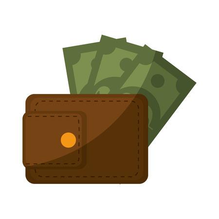 흰색 배경 위에 돈 지폐 아이콘으로 지갑 화려한 디자인 벡터 일러스트 레이 션