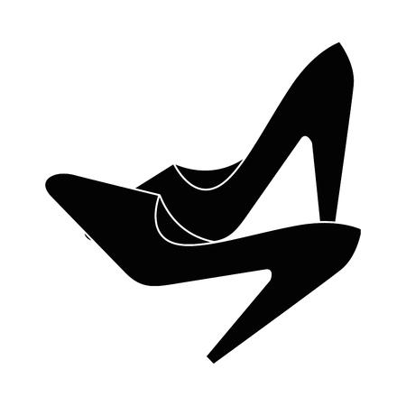 Icono de zapatos de tacón alto sobre fondo blanco ilustración vectorial Foto de archivo - 81140373
