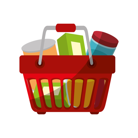 shopping basket with food icon over white background vector illustration Illustration