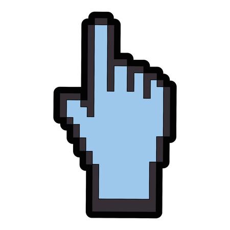 hand cursor icon over white background colorful design vector illustration Ilustrace