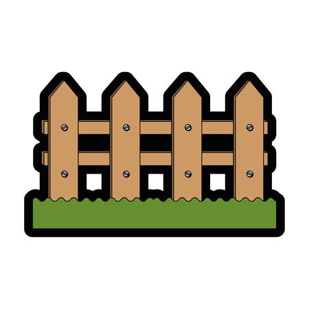 Clôture en bois icône sur fond blanc design coloré illustration vectorielle Banque d'images - 81141927