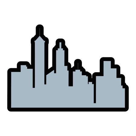 흰색 배경 위에 도시 건물 아이콘의 실루엣 화려한 디자인 벡터 일러스트 레이 션