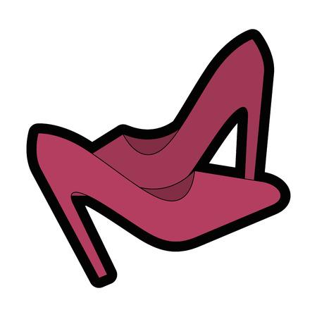 흰색 배경 위에 높은 뒤꿈치 신발 아이콘 화려한 디자인 벡터 일러스트 레이 션