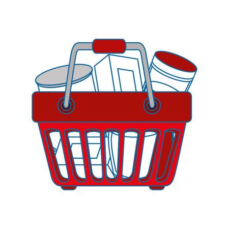 Panier avec icône de nourriture sur fond blanc design coloré illustration vectorielle Banque d'images - 81141959