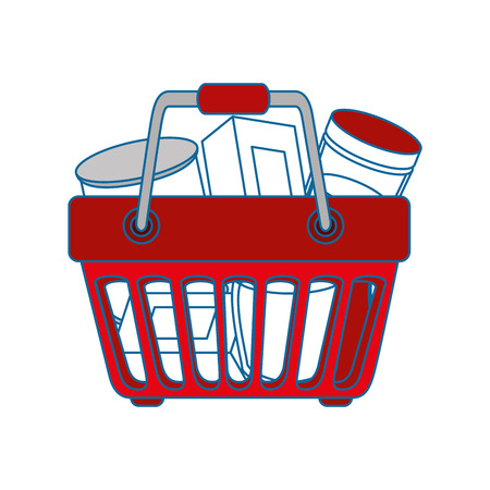 shopping basket with food icon over white background colorful design vector illustration