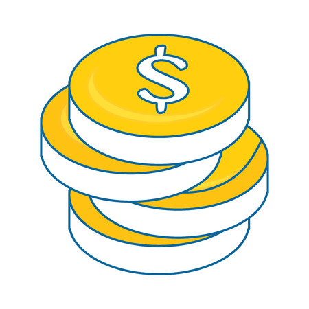 money coins icon over white background colorful design vector illustration