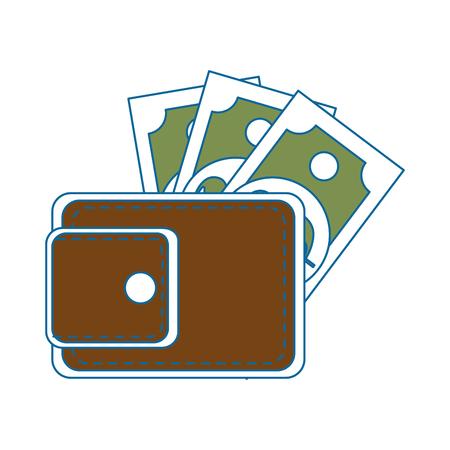 portefeuille met geld rekeningen pictogram over witte achtergrond kleurrijke ontwerp vectorillustratie Stock Illustratie