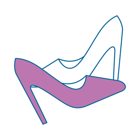 high heel shoes icon over white background colorful design vector illustration Illustration